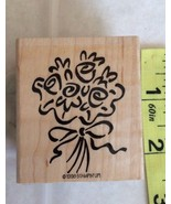 Flower Bouquet Rubber Stamp Stampin Up Floral Bow Wood Mounted Vintage 1998 - $6.26