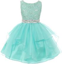 Flower Girl Dress Sequin Lace Top Ruffle Skirt Mint MBK 357 - $43.56+