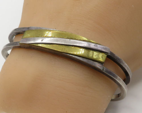 Primary image for GIDEON 925 Sterling Silver - Vintage Two Tone Geometric Cuff Bracelet - B1987