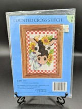 "Cow w Sunflowers Counted Cross Stitch Kit #5017 Candamar Designs 5""x7"" V... - $14.95"