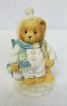 Cherished Teddies Figurine Earl Bear Scarf Hat Broom Snow Plush Toy 1995 - $15.45