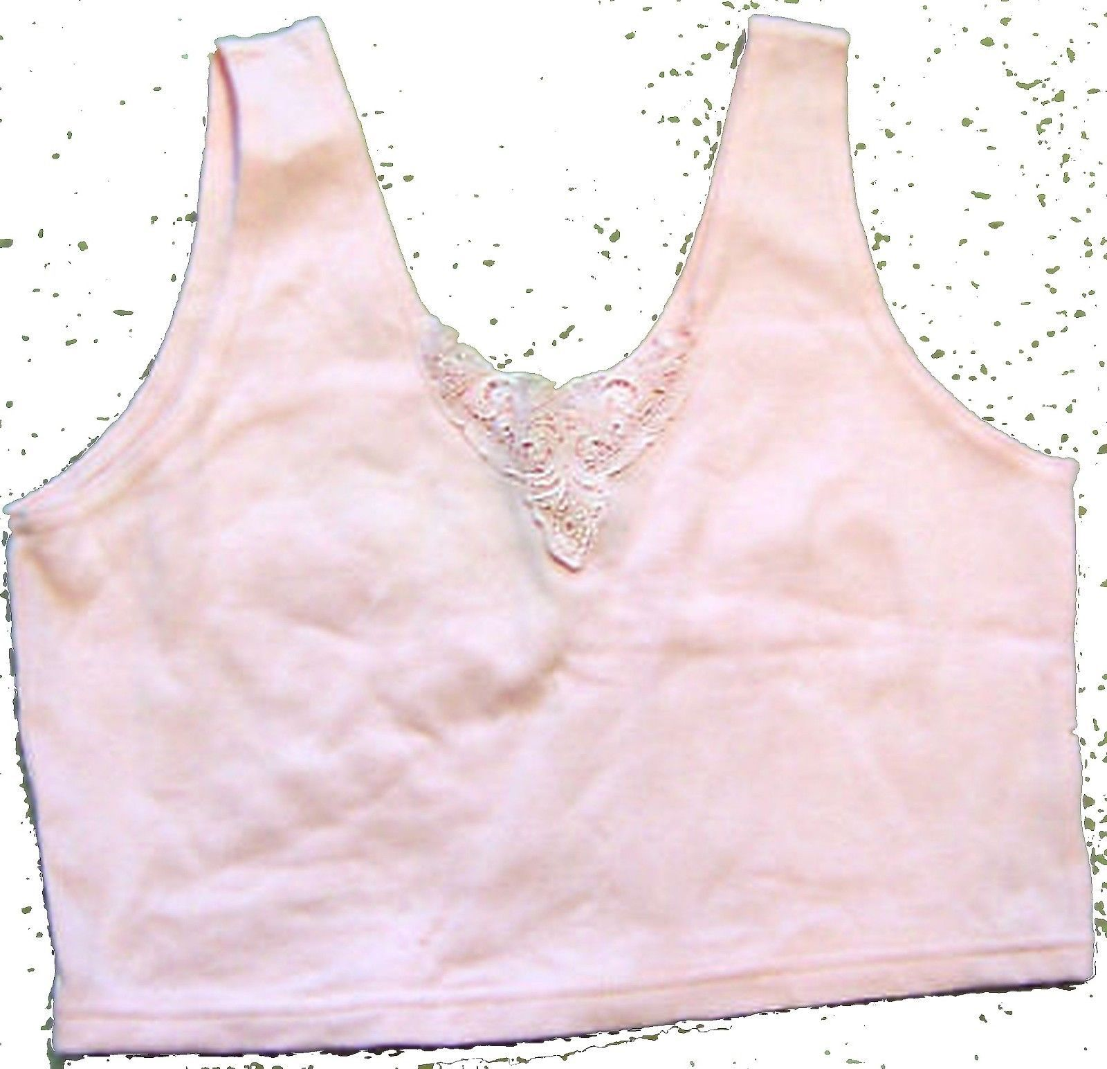 Sz M/L - NWOT Instant Action Lot of 2 Crop Tops ~ 1 Red & 1 Pink w/Lace Neckline