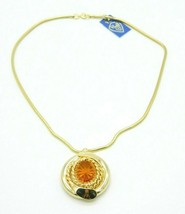 Pcraft Topaz Glass Rhinestone Gold Tone Pendant Necklace Vintage 1960s - $24.74