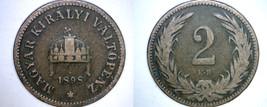 1898 Hungarian 2 Filler World Coin - Hungary - $7.99
