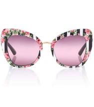 DOLCE & GABBANA PRINT FAMILY 4319 Black Stripe Pink Roses Sunglasses DG4... - $176.42