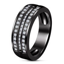 Antique Pure Silver Men's Band, Black Gold Plated Lab Diamond Simple Men's Band  - $91.88