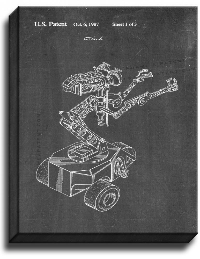 Primary image for Short Circuit Movie Number 5 Robot Patent Print Chalkboard on Canvas