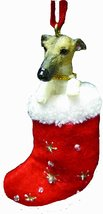 Greyhound Brindle Santa's Little Pals Dog Christmas Ornament - $8.99