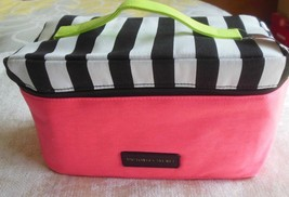 Victoria's Secret Lingerie Travel Bag Limited Edition Pink With Black/Wh Striped - $40.00