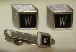"""Vintage SWANK Initialed """"W"""" Cufflinks & Tie Bar No stone - $24.70"""