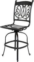 Patio bar stool arml-ess cast aluminum patio furniture sunbrella seat cushions image 2