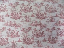 Vintage French Lovers Scenes Toile De Jouy Red Cotton Fabric Material 3 ... - $2.88+