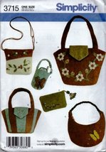 Washed Felt Bags - 6 Styles - Simplicity 3715 - $9.79