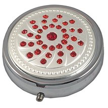 Ruby Red Bling Gemstone Fashion Silver 3 Compartment Pocket/Travel Pill ... - $163,41 MXN