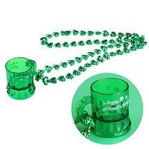 ULTNICE St Patricks Day Beads Shamrock Necklace with Green Shot Glass 12PCS - $20.81