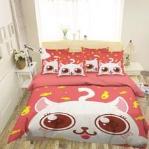 3D White Cute Cat 26 Bed Pillowcases Quilt Duvet Single Queen King US Lemon - $102.84+