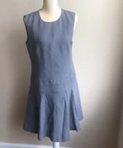 J Crew Womens Sleeveless Striped Dress wool Linen Gray Sz 8 work  - $14.49