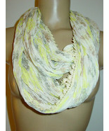 Betsey Johnson Off White Green Gray Floral Print Infinity Scarf Crinkle-... - $12.82