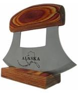 Alaska Alaskan Ulu Natural Exotic Wood Handle Etched Stainless Steel Blade - $18.80