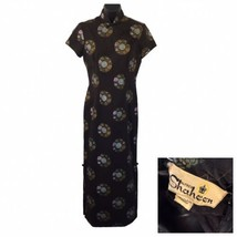 Alfred Shaheen Black Cheongsam Medallion Screen Print Pinup Dress Fitted... - $147.51