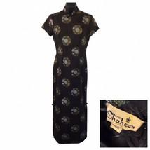 Alfred Shaheen Black Cheongsam Medallion Screen Print Pinup Dress Fitted... - $147.51