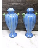 PAIR Made in Italy Pottery Blue Striped Urn Lamp Bases Vintage  - $59.40