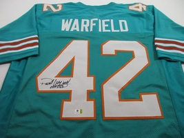 PAUL WARFIELD / NFL HALL OF FAME / AUTOGRAPHED MIAMI DOLPHINS CUSTOM JERSEY COA image 1