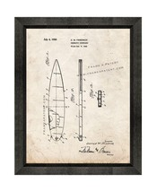 Pneumatic Surfboard Patent Print Old Look with Beveled Wood Frame - $24.95+