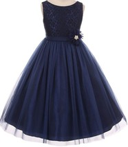 Flower Girl Dress Floral Pattern Top Soft Tulle Skirt Navy MBK 346 - $43.56+