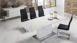 American Eagle TL-1894G Modern Wood Top Table with White PU Chairs Set 7... - $1,791.70