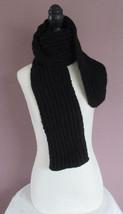 54 Inch Black Scarf Childrens Boys Girls Ladies Handknit Ribbed Scarf - $22.00
