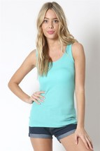 Light Turquoise Scoop Neck Rayon Tank Top, Ribbed Sleeveless Blue Top