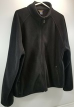 MI) Vintage Woolrich Black Men's Large Full Zip Fleece Jacket Coat Rear ... - $19.79