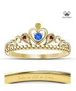 925 Silver Yellow Gold Plated Disney Princess Belle Crown Ring Unique Je... - £38.82 GBP