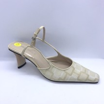 Nine West Square Close Toe Heels Size 5.5 Back Heel Strap Bone Color - $30.00