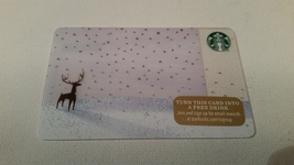 Starbucks Gift Card - NEW - SNOWY FIELD WITH DEER- LONE BUCK - 2015 - $2.45