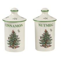 Spode Christmas Tree Spice Set 2 Jars With Lids Cinnamon Nutmeg Storage New Box - $19.60