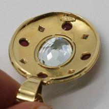 18K YELLOW GOLD NECKLACE BIG OVAL AQUAMARINE RUBY DIAMOND PENDANT SQUARE CHAIN image 6