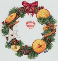 Cross Stitch Hand Embroidery Kit Orange and Cinnamon Wreath - $24.67