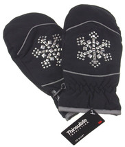 Joe Boxer Women Black Mittens Silver Snowflake 3M Thinsulate Insulation ... - $10.49+