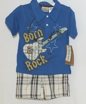 Little Rebels Boys Two Piece Born 2 Rock Shirt Shorts Outfit 12 Months image 1