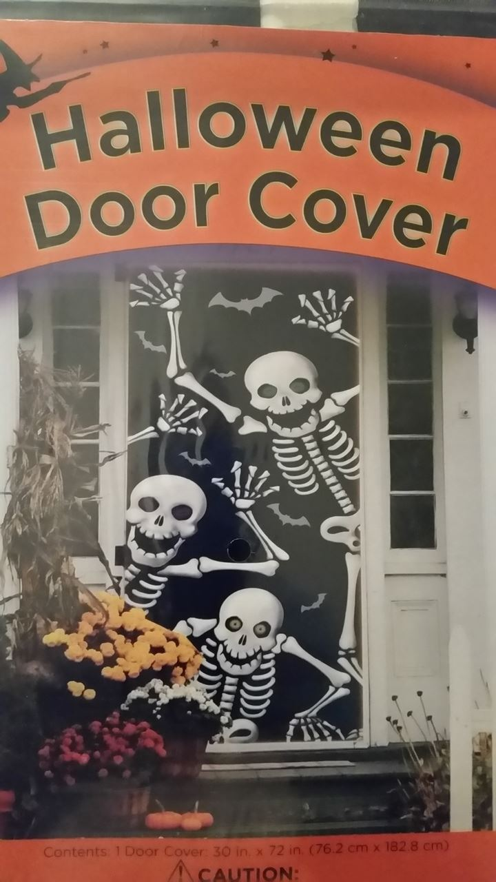 Halloween Door Cover 30 x 72 Friendly Skeletons