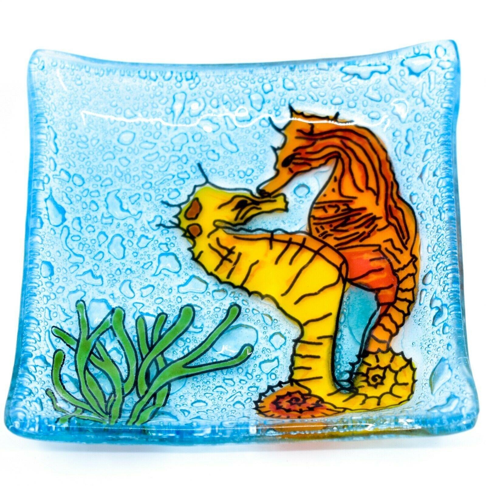Fused Art Glass Ocean Seahorse Design Square Soap Dish Handmade Ecuador