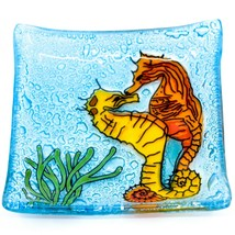 Fused Art Glass Ocean Seahorse Design Square Soap Dish Handmade Ecuador