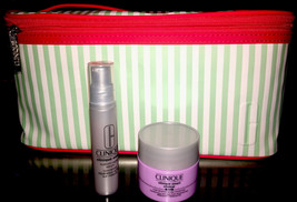 """Clinique large makeup beauty cosmetic train case bag white green 10""""x6""""x... - $7.84"""