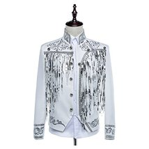 1791's lady Victorian Men's Aristocrat Costume Regency Vest Coat Silver ... - $84.15