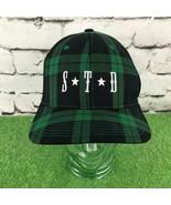 S*T*D Mens Sz S-M Hat Dark Green Plaid Flexfit Fitted Baseball Cap By Yu... - $14.84