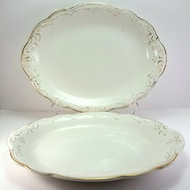 """WH Grindley 520 Oval Platters 12"""" Set of 2 White Gold Antique Dish - $37.91"""