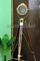 Nauticalmart Antique Brass Finish Wooden Tripod Floor Lamp For Living Room - $259.51