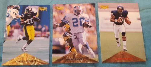 1996 Pinnacle football lot of 3 cards: Barry Sanders, Bobby Engram